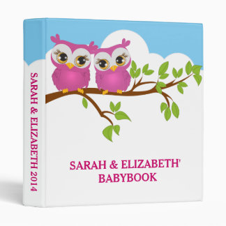 Sweet Twins Owls Girl Baby Photo Album Binder Binder