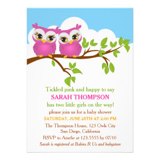 Sweet Twins Owls Girl Baby Shower Invitation Personalized Invite