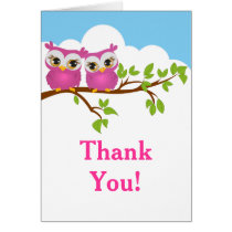 Sweet Twins Owls Girl Baby Thank You Card
