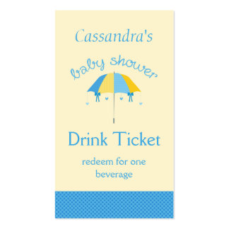 Sweet Umbrella Baby Shower Blue Drink Ticket Business Card