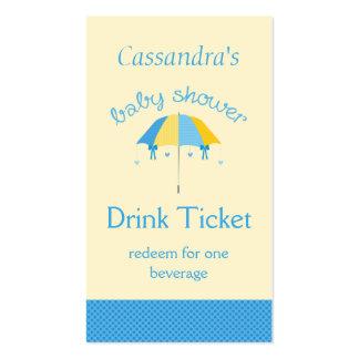 Sweet Umbrella Baby Shower Blue Drink Ticket Business Cards