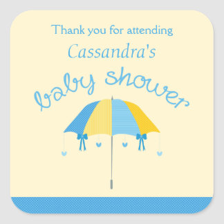 Sweet Umbrella Baby Shower Blue Yellow Thank You Square Sticker