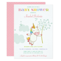 Sweet Unicorn Baby Shower Invitation Dandelion