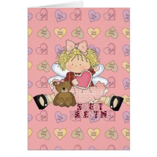 sweet valentine blonde little girl cutie card