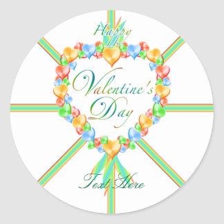 Sweet Valentine Candy Hearts Custom Classic Round Sticker