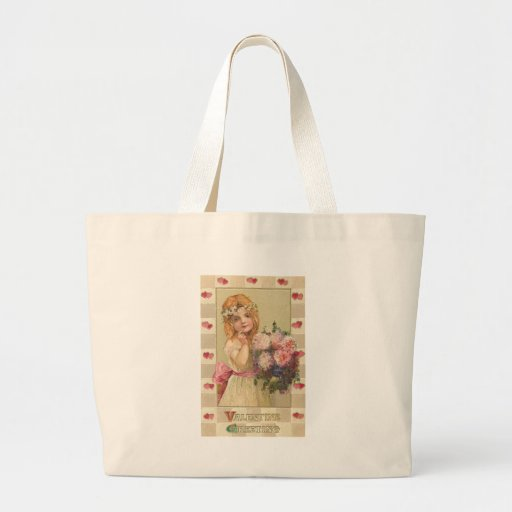 Sweet Valentine Girls with Floral Bouquets (2) Jumbo Tote Bag