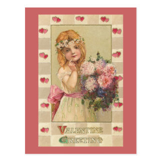 Sweet Valentine Girls with Floral Bouquets (2) Postcard