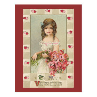 Sweet Valentine Girls with Floral Bouquets Post Card