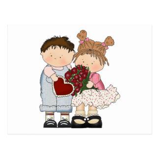 sweet valentine kids postcard