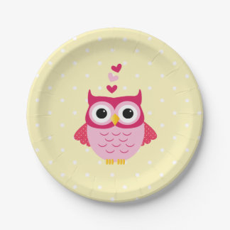 Sweet Valentine Owl Paper Party Plates