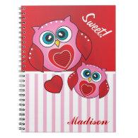 Sweet Valentine Owls Notebook