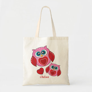 Sweet Valentine Owls   Personalized Tote Bag