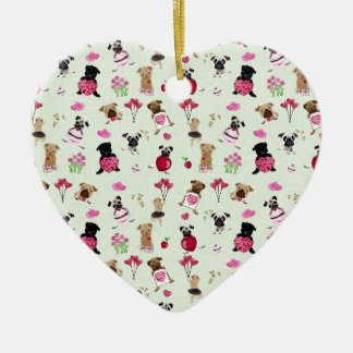 Sweet Valentine Pugs on Pastel Green Background Ceramic Ornament