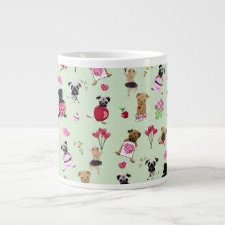 Sweet Valentine Pugs on Pastel Green Background Large Coffee Mug