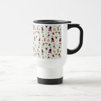 Sweet Valentine Pugs on Pastel Green Background Travel Mug