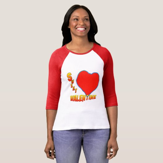 Sweet Valentine Red Heart Women's Raglan T-Shirt