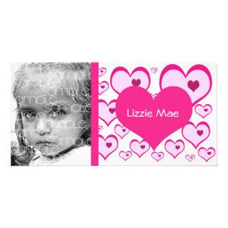 Sweet Valentine's Pink Hearts Photo Card