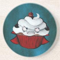 artsprojekt, cute vampire, vampire gift, halloween, halloween cupcake, cute halloween, cupcake, halloween gift, kawaii, vampire, cute, kawaii cupcake, sweet halloween, halloween design, halloween idea, trick or treat, kawaii vampire, kawaii halloween, halloween present, vampire present, cupcake gift, cupcake present, Descanso para copos com design gráfico personalizado