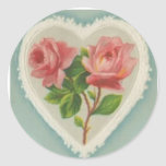 Sweet Victorian Roses in a Heart Sticker