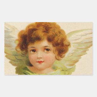 Sweet Vintage Angel Face Rectangular Sticker