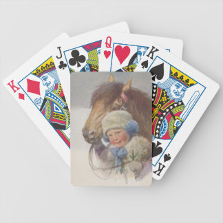 Sweet vintage antique child w/ pony Playing Cards