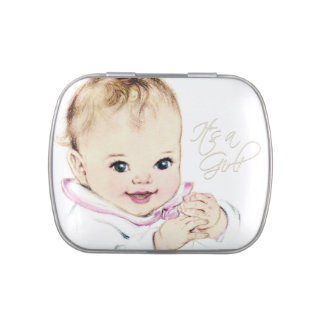 Sweet Vintage Baby Girl Shower Candy Jelly Belly Tin