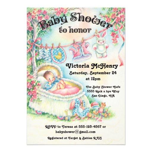 sweet vintage baby shower invitations 5 x 7 invitation card zazzle