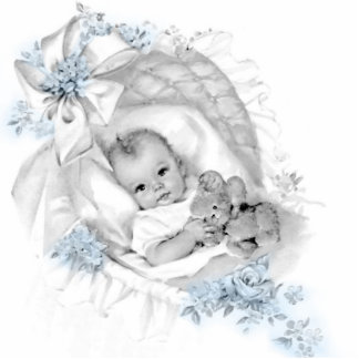 Sweet Vintage Blue Baby Boy Shower Photo Cut Outs