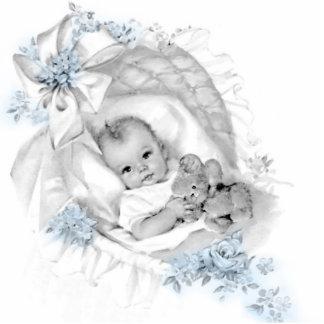 Sweet Vintage Blue Baby Boy Shower Statuette