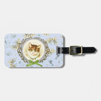 Sweet vintage cat portrait bag tag