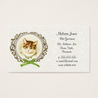 Sweet vintage cat portrait business card