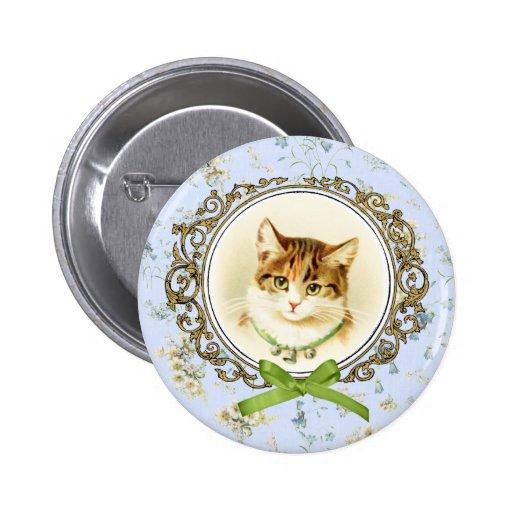 Sweet vintage cat portrait button