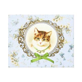 Sweet vintage cat portrait canvas print