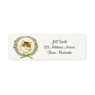 Sweet vintage cat portrait label
