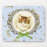 Sweet vintage cat kitten on floral baby blue mousepad