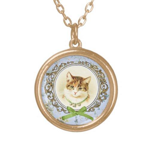 Sweet vintage cat portrait necklace