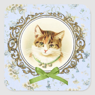 Sweet vintage cat portrait square sticker