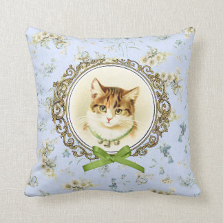 Sweet vintage cat portrait throw pillow