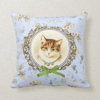 Sweet vintage cat portrait throw pillows