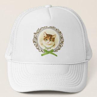 Sweet vintage cat portrait trucker hat