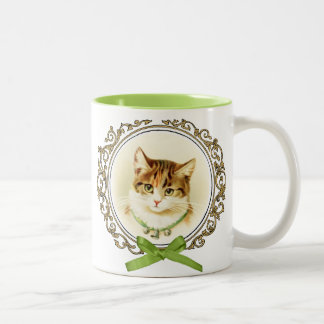 Sweet vintage cat portrait Two-Tone coffee mug