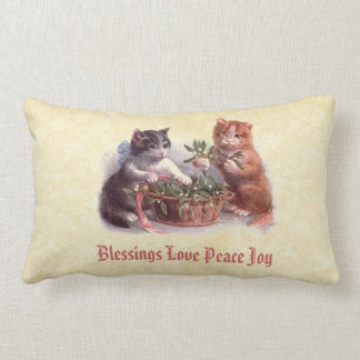 Sweet Vintage Cats Blessings Love Peace Joy Throw Pillows