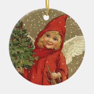 Sweet Vintage Christmas Angel Ceramic Ornament