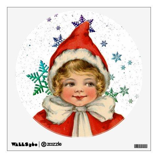 Sweet vintage christmas elf girl wall decor zazzle