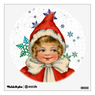 Sweet Vintage Christmas Elf Girl Wall Sticker