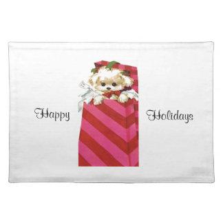 Sweet Vintage Christmas Puppy Bichon Lhasa Maltese Cloth Placemat