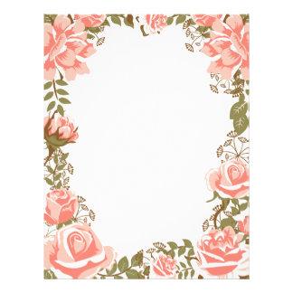 Sweet vintage coral roses frame letterhead