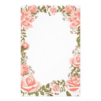 Sweet vintage coral roses frame stationery