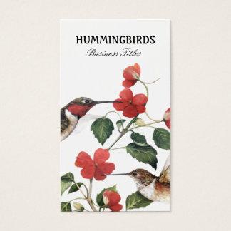 Sweet Vintage Floral Hummingbirds Pair Business Card