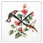 Sweet Vintage Floral Hummingbirds Pair Square Wallclocks